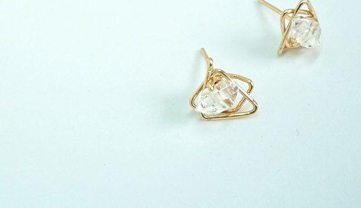ミニマリストも欲しいアクセサリー!ハーキマーダイヤモンドの幾何学ピアス