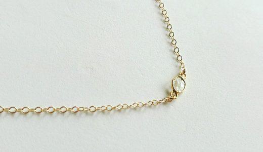 天然石スライスダイヤモンドのシンプルゴールドネックレス