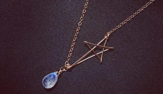 レインボームーンストーンのスターネックレス✧star bright jewelry