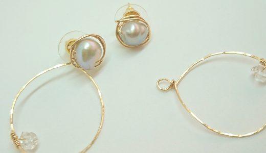 シルバーパールとハーキマーダイヤモンドのピアス
