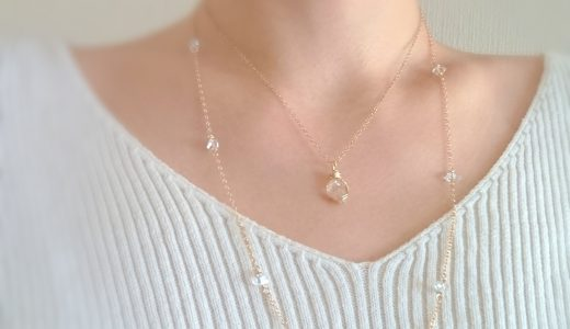 ハーキマーダイヤモンドのロングネックレス