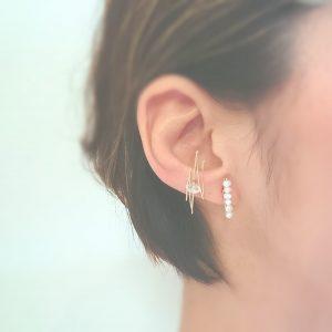 ピアス 似合わない パール 天然石 小顔 シンプル イヤーカフ ハーキマーダイヤモンド