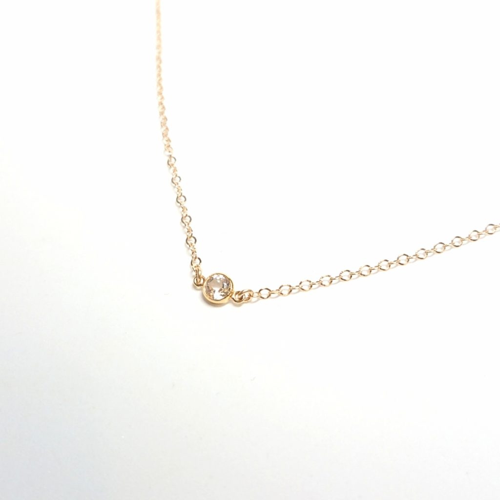 トパーズ 一粒ネックレス ダイヤモンド 14KGF ゴールドネックレス